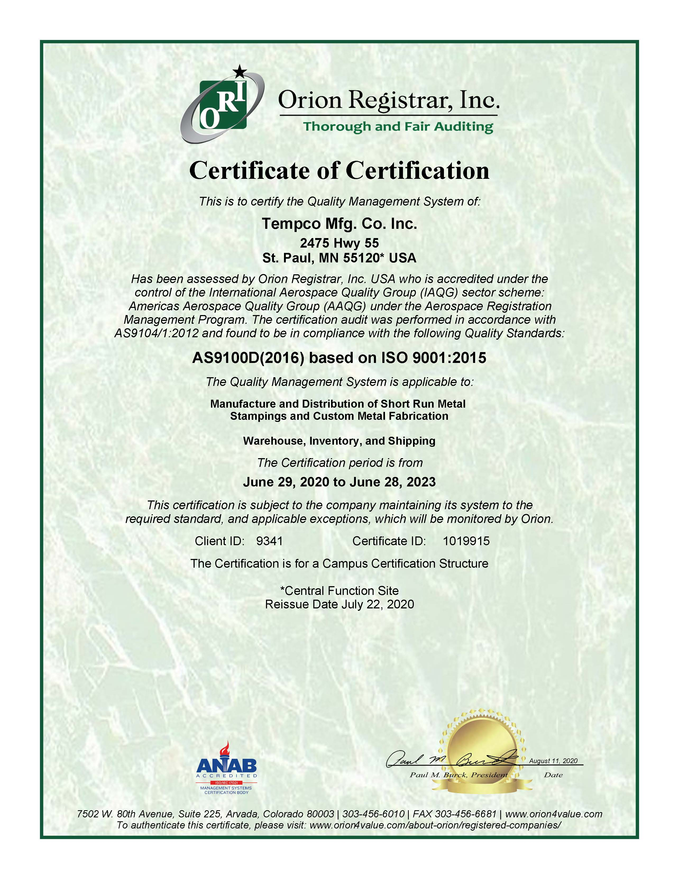 Tempco ISO AS9100D 2016 Certificate