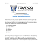 Tempco Supplier Requirements SOP